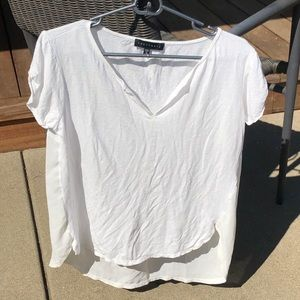 Sanctuary Remix Tee Sheer White Back Split Neck